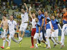 Die griechischen Spieler feierten den Achtelfinaleinzug