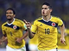 Der Kolumbianer James Rodriguez erzielte beide Tor zum 2:0-Sieg gegen Uruguay