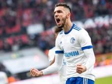 Nabil Bentaleb schreit seine Freude über sein Elfmetertreffer in Leverkusen laut heraus