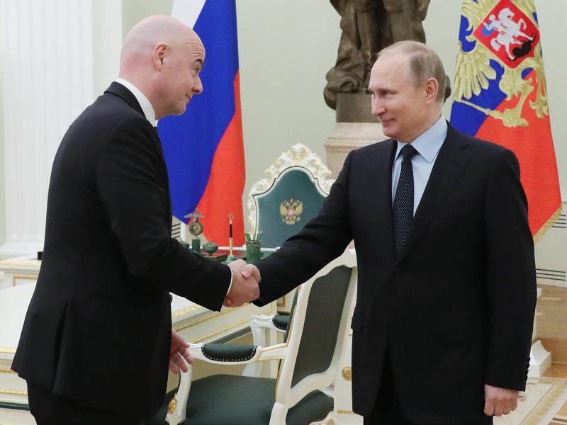 Treffen sich wegen der WM-Vorbereitung: Gianni Infantino und Wladimir Putin