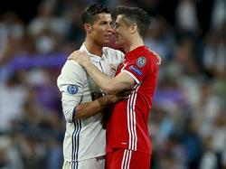 CR7 (l.) oder Robert Lewandowski? Am Mittwochabend treffen der FC Bayern und Real aufeinander