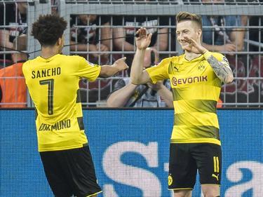 Jadon Sancho (l.) und Marco Reus harmonierten gegen Leverkusen prächtig