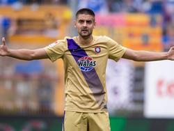Aue-Stürmer Dima Nazarov und seine Kollegen müssen gegen den KSC in der Relegation ran