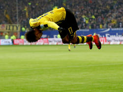 Dortmunds Aubameyang traf vier Mal gegen den HSV