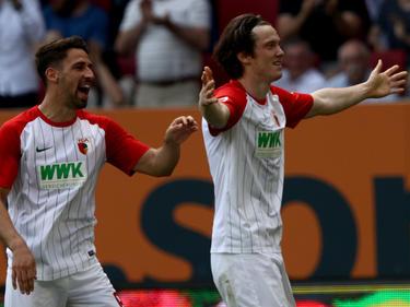 Michael Gregoritsch (r.) brachte Augsburg gegen Mainz in Führung