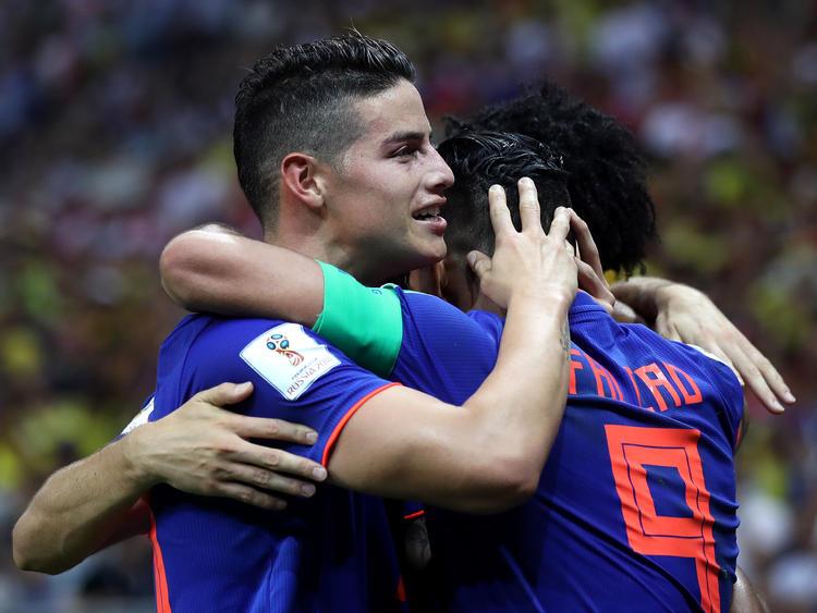 James Rodriguez (l.) und Falcao brachten Kolumbien zum Jubeln