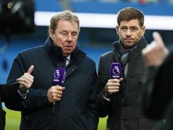 Harry Redknapp (l) en Steven Gerrard (r) als analisten in de Premier League