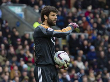 Dimitrios Konstantopoulos in actie tijdens Burnley - Middlesbrough. (12-4-2014)