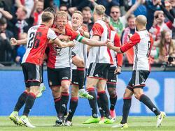 Dirk Kuyt (2.v.l.) traf dreimal für den neuen Meister Feyenoord