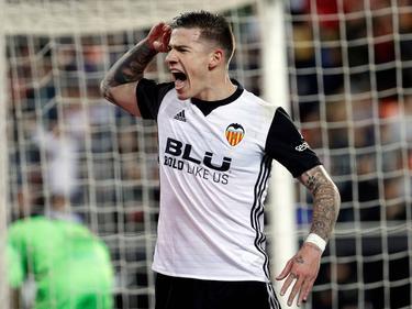 Santi Mina abrió el marcador en Mestalla. (Foto: Imago)