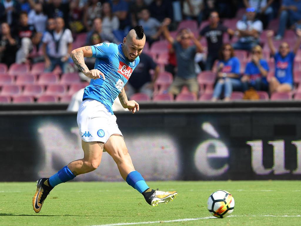 Im Spiel gegen Cagliari erzielt Marek Hamsik seinen 113. Treffer und für Napoli und liegt damit nur noch ein Tor hinter dem Napoli-Idol Maradona. (01.10.2017)