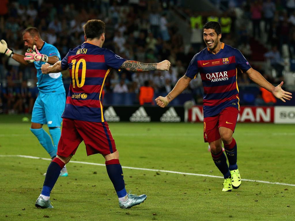 Lionel Messi und Luis Suárez steuerten drei Tore zum Sieg bei