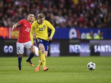 Emil Forsberg musste sich mit Schweden gegen Chile geschlagen geben