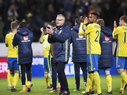 Janne Anderson (M.) bejubelte einen Sieg gegen Dänemark