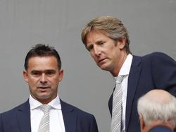 Edwin van der Sar en Marc Overmars kijken toe bij Ajax - Vitesse(11-09-2016)