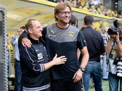 Braunschweigs Trainer Torsten Lieberknecht (l.) und Dortmunds Jürgen Klopp