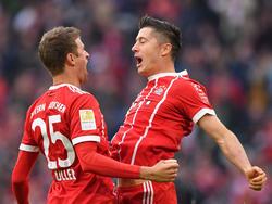 Die Bayern können sich auf Müller (l.) und Lewandowski (r.) verlassen