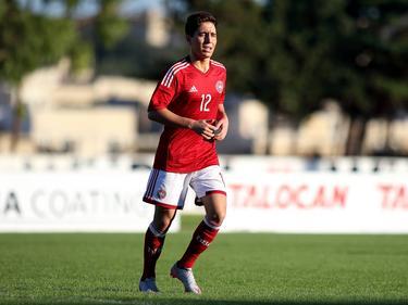 Emre Mor maakt speelminuten namens Denemarken Onder 19 tijdens het EK-kwalificatieduel met IJsland Onder 19 (10-11-2015).