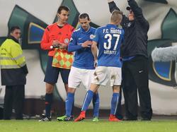 Stevanović (l.) und Andrist kehren Rostock den Rücken