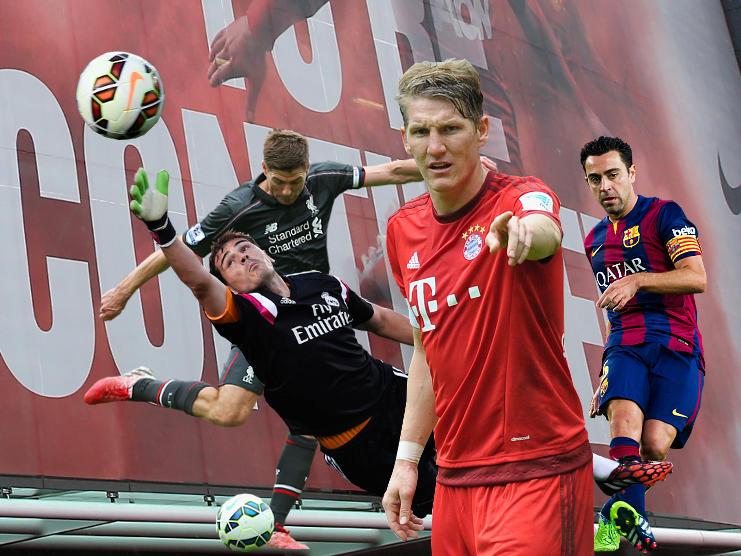 Steven Gerrard, Iker Casillas, Bastian Schweinsteiger und Xavi (v.l.n.r.) brechen zu neuen Ufern auf