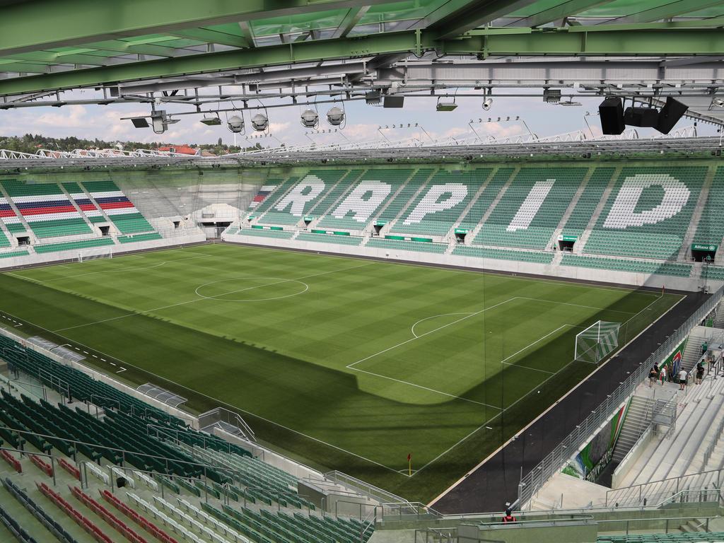 Zur Eröffnung war der Rasen im neuen Rapid-Stadion noch picobello