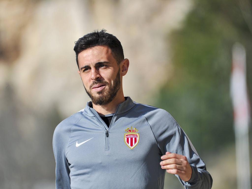 Bernardo Silva is aanwezig tijdens een training van AS Monaco (14-03-2017).