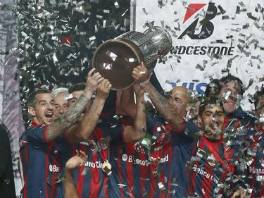 Die Spieler von San Lorenzo feiern den Copa-Libertadores-Sieg 2014