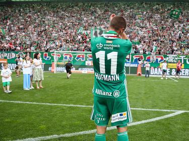 Hofmann traf in seinem letzten Pflichtspiel vor eigenem Publikum und wurde von den Rapid-Fans gefeiert
