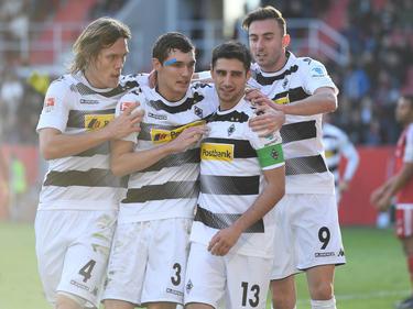 El Gladbach celebrando el 0-1 en Ingolstadt. (Foto: Getty)