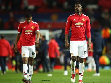 Paul Pogba (r.) scheitert mit Manchester United im Champions-League-Achtelfinale
