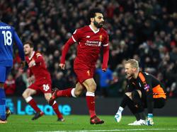 Mohamed Salah hizo doblete ante el Leicester. (Foto: Getty)