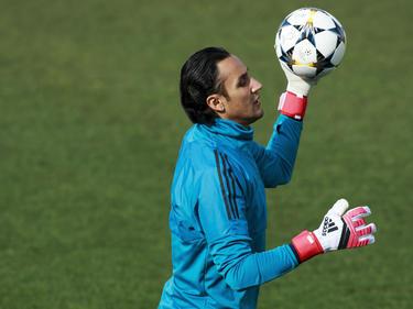 Keylor Navas en un entrenamiento reciente con el Madrid. (Foto: Getty)