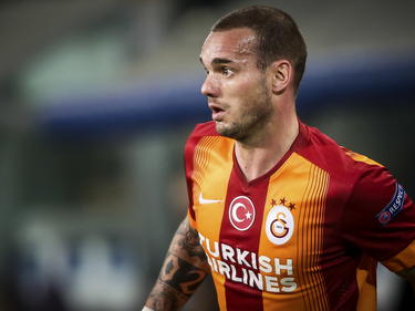 Wesley Sneijder namens Galatasaray tijdens de Champions League wedstrijd tegen Anderlecht. (26-11-14)