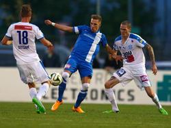 Christoph Monschein (Mitte) forderte mit Ebreichsdorf im ÖFB-Cup Wiener Neustadt