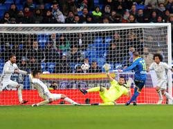 Aspas anotando un gol en el Bernabéu (Foto: Getty)