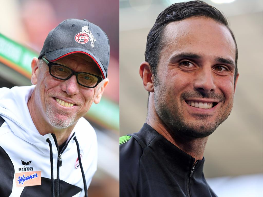 Starke Statements von Köln-Coach Stöger (li.) und SVW-Trainer Nouri (re.)