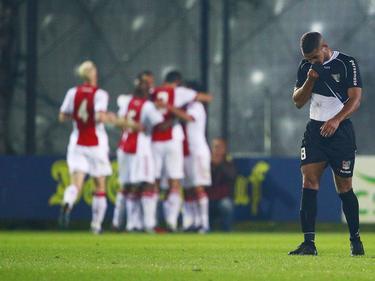 Gregor Breinburg baalt tijdens het bekerduel Ajax (amateurs) - NEC Nijmegen van een tegentreffer. (23-09-2014)