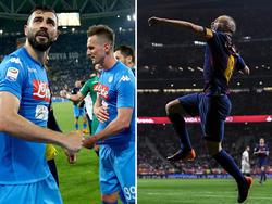 Jubel bei Napoli und Barça. © imago/ZUMA Press bzw. Getty Images/David Ramos