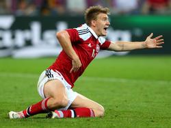 Nicklas Bendtner, héroe de Dinamarca en el amistoso ante Estados Unidos. (Foto: Getty)