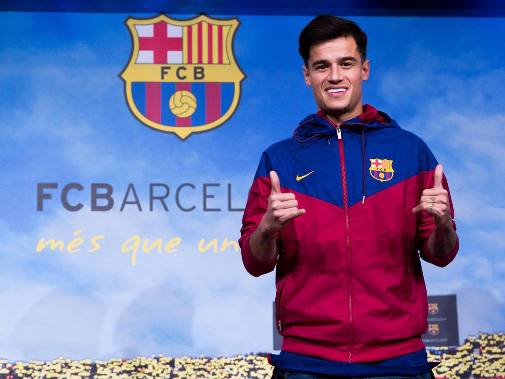 Philippe Coutinho am Sonntag bei seiner Ankunft in Barcelona