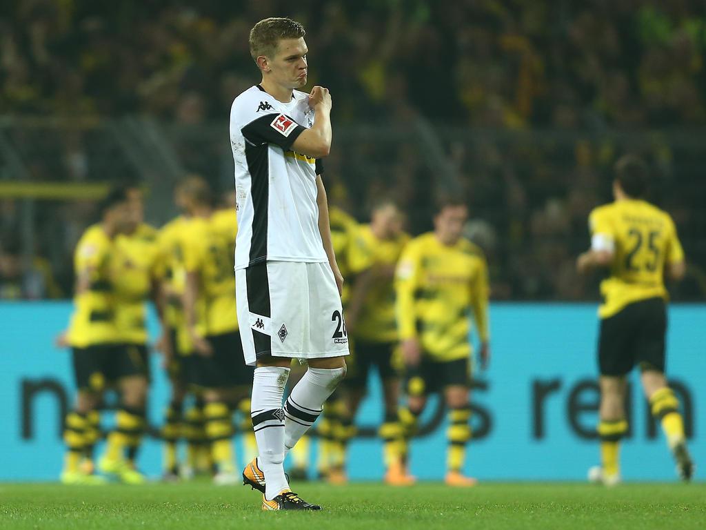 Das Bild aus dem Hinspiel: Der BVB jubelt, Matthias Ginter ist enttäuscht