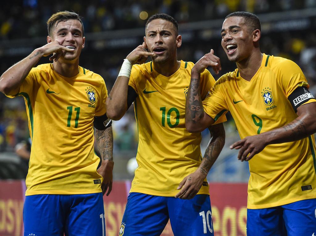 Die Brasilianer feiern den Sieg gegen Argentinien