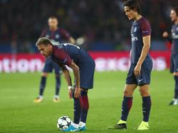 Neymar (l.) verhinderte den Torrekord von Teamkollege Edinson Cavani