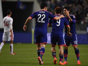 Shinji Okazaki (M.) erzielte erneut einen Treffer für Japan