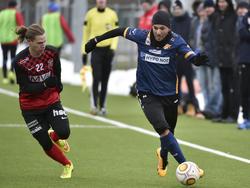 Ümit Korkmaz auf der ÜÜÜberholspur im Testspiel des SKN gegen SC Mannsdorf