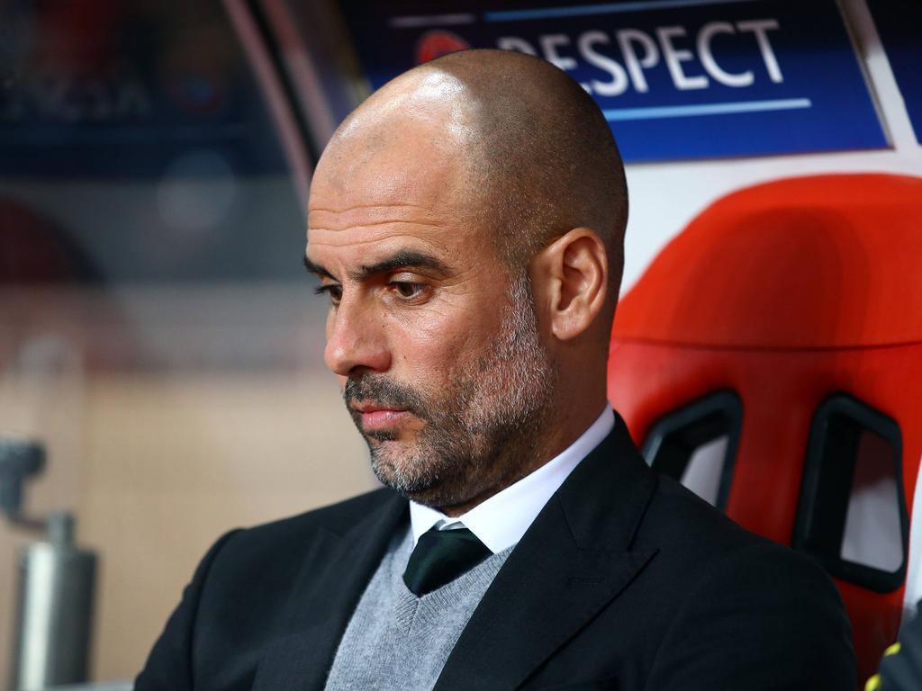 Manchester City-trainer Pep Guardiola baalt tijdens het Champions League-duel AS Monaco - Manchester City (15-03-2017).