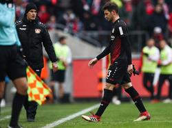 Lucas Alario flog gegen den 1. FC Köln vom Platz