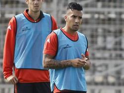 Jorge Díaz en un entrenamiento con el Real Zaragoza. (Foto: Imago)