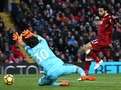 Mohamed Salah of Liverpool scores against Watford