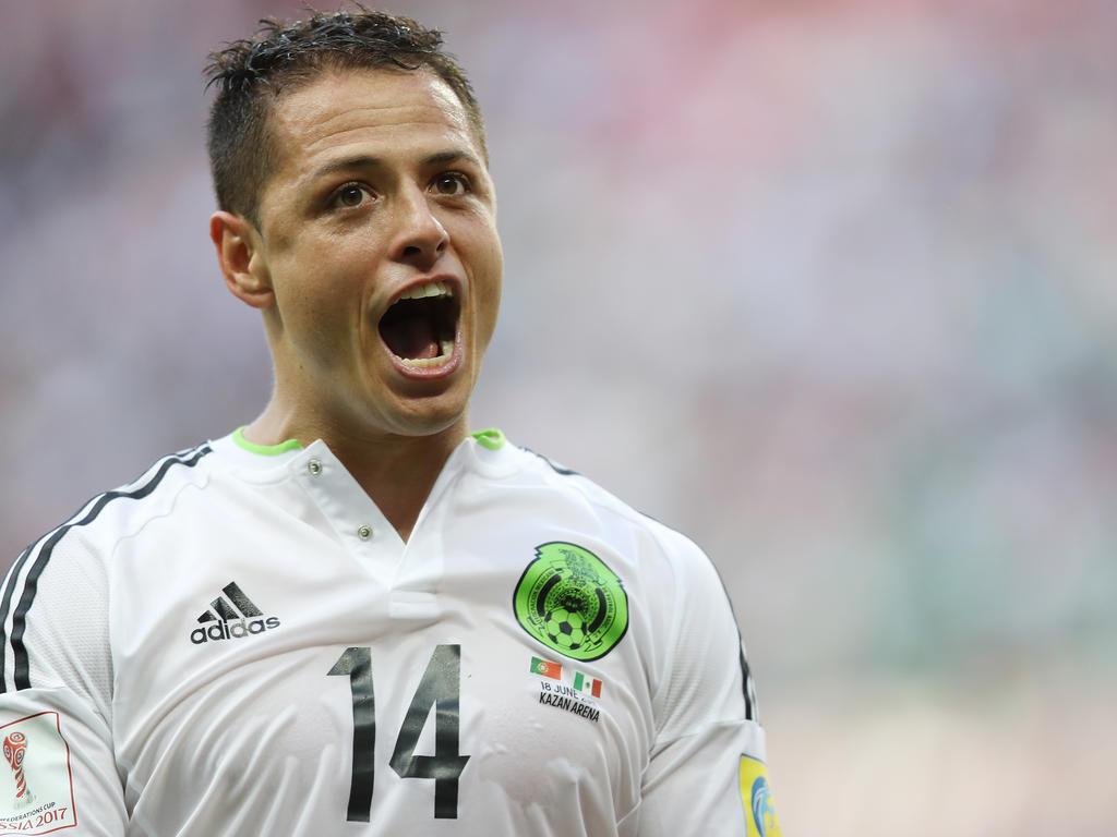 Mexikos Javier Hernández bejubelt sein Tor gegen Portugal